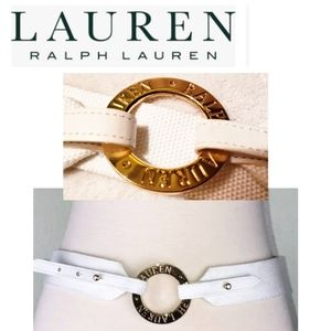 Lauren Ralph Lauren white canvas brass ring belt.